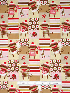 Sock monkey baby fabric nursery cute monkeys qt zoe for Nursery monkey fabric