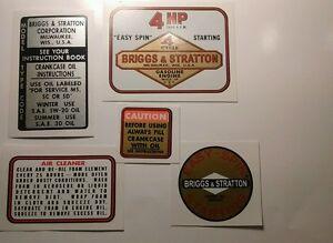 Briggs & Stratton engine decals 1963-77 minibike Edger 4-hp model 100202 Set 5
