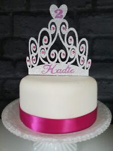 GIRLS PINK PRINCESS TIARA SPARKLY DIAMANTE BIRTHDAY CAKE TOPPER DECORATION GIRL