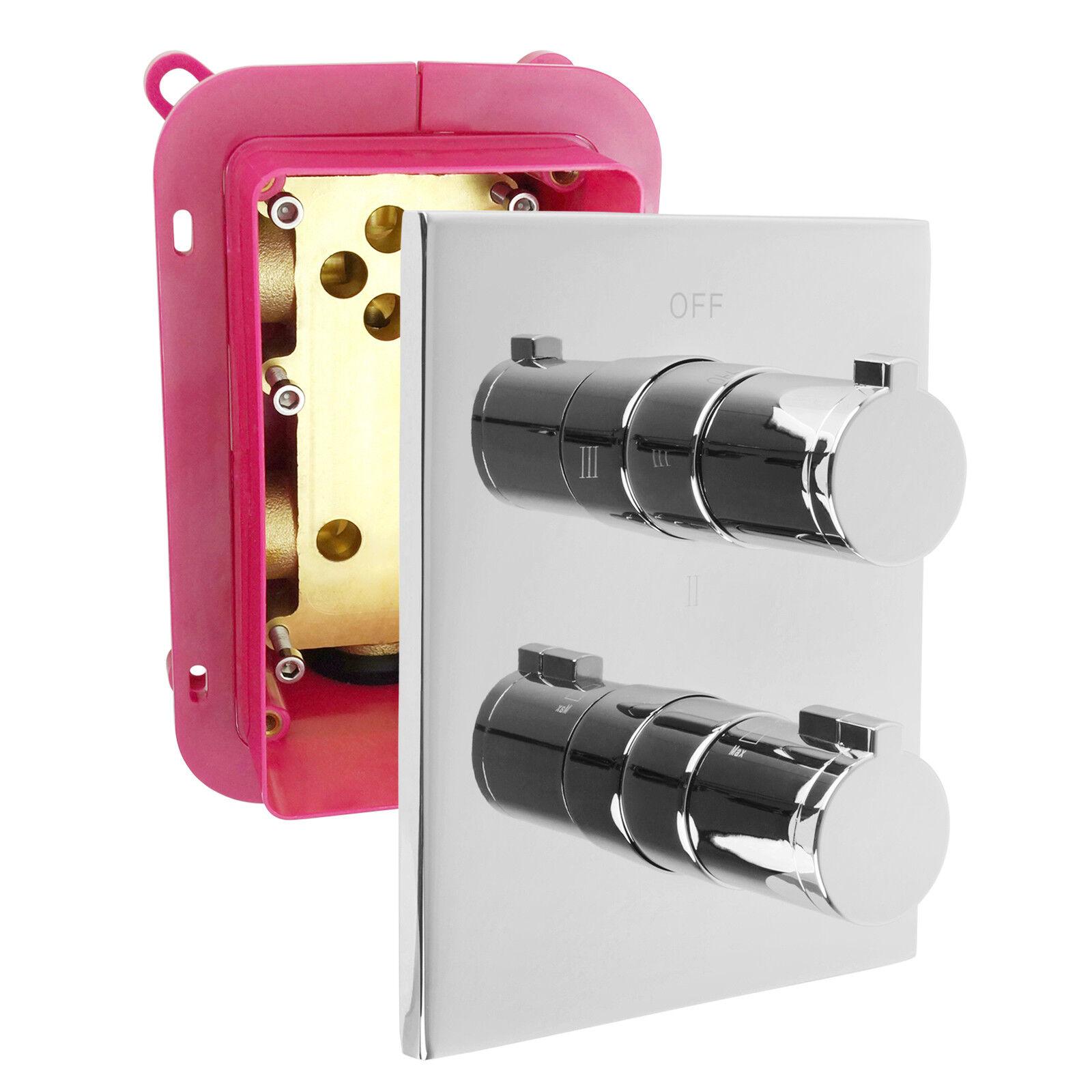 Welfenstein 3 Wege Thermostat Armatur Montagebox Einbaubox Unterputz chrom T-N63