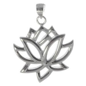 Lotus-Anhaenger-925er-Silber-Symbol-Schmuck-NEU