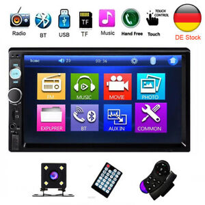 Doppel-2-DIN-Autoradio-Car-Stereo-MP3-Player-7-Zoll-Touch-Bluetooth-USB-Kamera