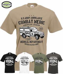 T-Shirt-US-ARMY-AMBULANCE-COMBAT-MEDIC-Dodge-Military-Vintage-Allied-neu