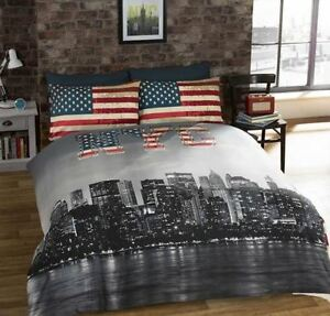 New-York-City-Skyline-Bedding-American-Flag-Reversible-Duvet-Cover-Set-FREE-P-amp-P
