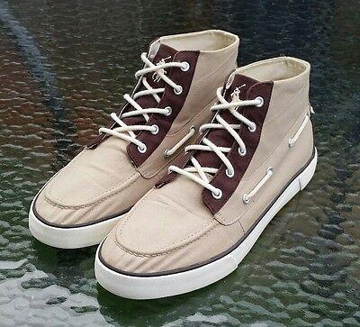 Men's Polo by Ralph Lauren Tan/Brown Canvas Casual Boots Shoes Size 10.5 D EUC