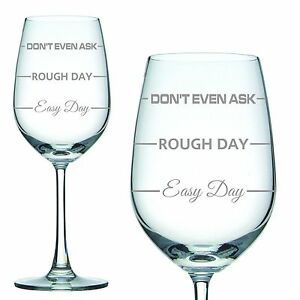 Engraved-350ml-White-Wine-Glass-039-Easy-Day-Rough-Day-039-Christmas-Gift-Mothers-Day