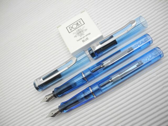 2XC.Blue JINHAO 599C Fountain pen Medium fine Nib free Jinhao 5 cartridge BLACK