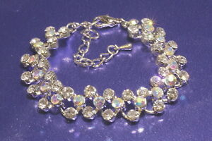 Damen-Tennis-Armband-3-reihig-Silber-mit-Swarovski-Steine-Ketten-Brautschmuck