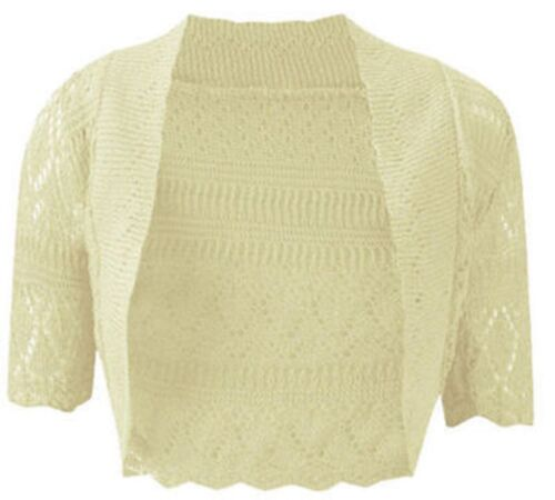New Womens Knitted Bolero Shrug Crochet Cardigan Ladies Plus Size Top 8-32