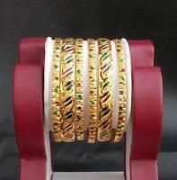 "6PC Bollywood Indian Designer Gold Plated Mena American Stylish Bangles Set 2.4"""