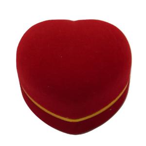 Red Love Heart Shaped Velvet Flocked Ring Box Wedding Proposal Present Ring Box