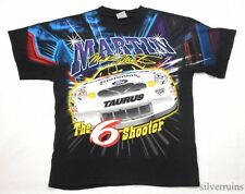 MARK MARTIN Vintage T Shirt AUTO SPORTS RACING Allover Print FORD