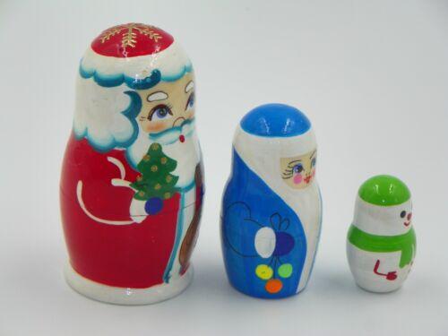 Russian Nesting Dolls Wooden Handmade Matryoshka Santa Kids Toys