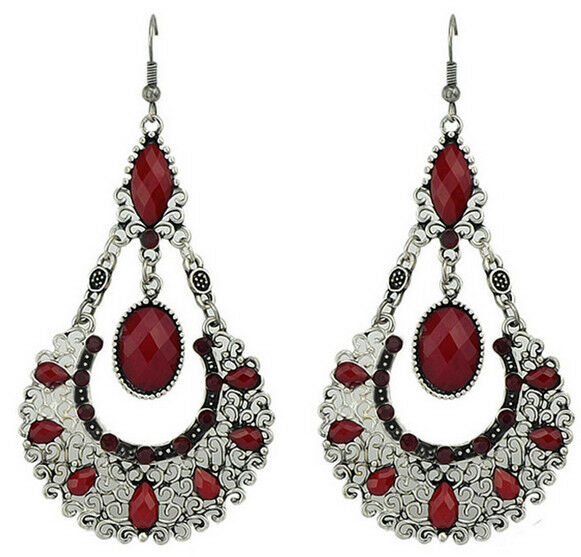Retro Charm Red Resin Water Drop Hollow Out Flower Dangle Statement Stud Earring
