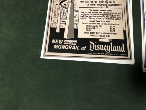 B2G1 FREE!! COLLECTOR POSTER 4 DIFFERENT SIZES DISNEYLAND MONORAIL AD