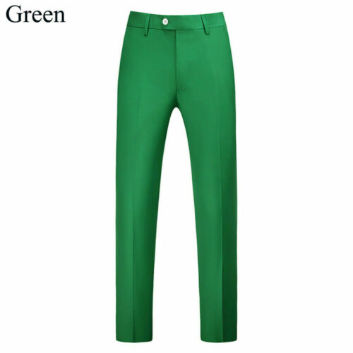 Mens Straight Leg Suit Pants Wedding Tailored Fit Trousers Casual Formal