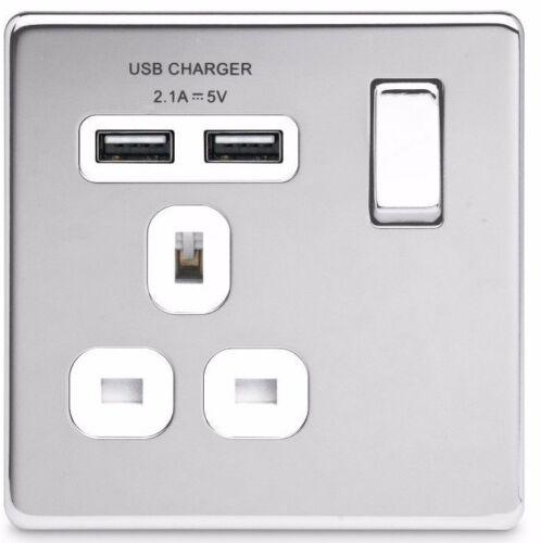 BG Nexus Polished Chrome Screwless Flatplate Switches /& Sockets White Inserts