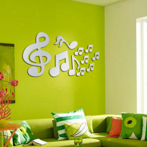 Silver Music Notes Mirror Decal Art Mural Wall Stickers Bedroom DIY Decor