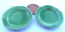 1:12 Green Serving Plates (2) Doll House Miniature Ceramic Kitchen Accessory G35