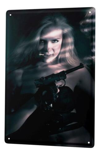 Tin Sign Jorgensen pin up metal blate poster blonde model gun midriff gloves