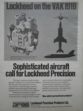 12/1969 PUB AP LOCKHEED PRECISION PRODUCTS VAK 191B V/STOL AIRCRAFT AD