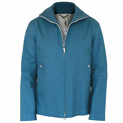 HANCOCK $995 waterproof petrol blue cotton rain jacket rubberproofed coat XL NEW