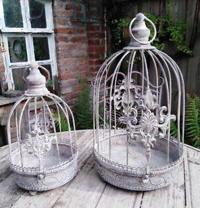 2er-Set-Cage-Deco-Metal-Shabby-pour-Oiseaux-Plantes-Style-Antique-Neuf