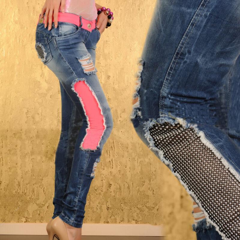 Aktiv Damenjeans Jeans Hose Damenhose Sexy Röhrenjeans Pink Strass 32 34 Xxs Xs #833