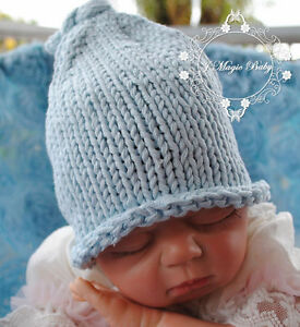 Handmade Crochet Pixie Knot Beanie Hat Newborn Baby Girl Boy Kids Photo  Prop  b917fb04505