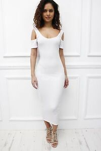 Glamzam-Womens-Ladies-New-White-Cut-Out-Cold-Shoulder-Midi-Celeb-Bodycon-Dress