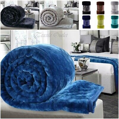 Large Luxury Soft Mink Faux Fur Throw Blanket Bed Sofa Home Single Double King