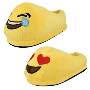 LADIES-SPOT-ON-EMOJI-NOVELTY-SLIPPERS-STYLE-LAUGHING-amp-HEARTS