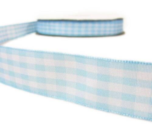 """5 Yd environ 4.57 m pastel bébé bleu blanc Vichy Carreaux Plaid Ribbon 7//8/""""W"""