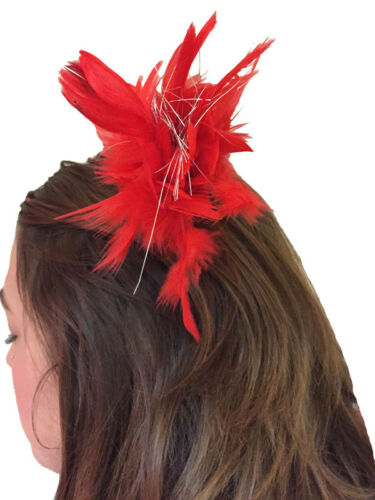 Burlesque Glamour Red Feather /& Tinsel Hair Clip 1920s Style Fancy Dress New