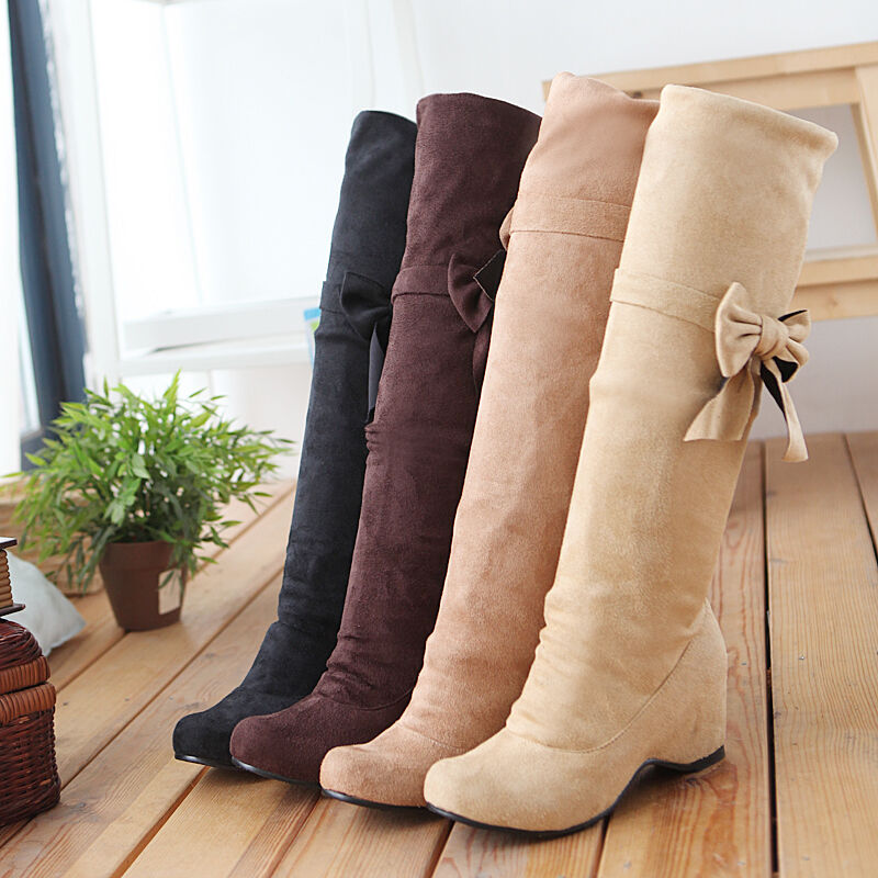 Ladies shoes Bowknot Faux Suede Wedge Heels Bowknot Knee High Boots UK Size b026
