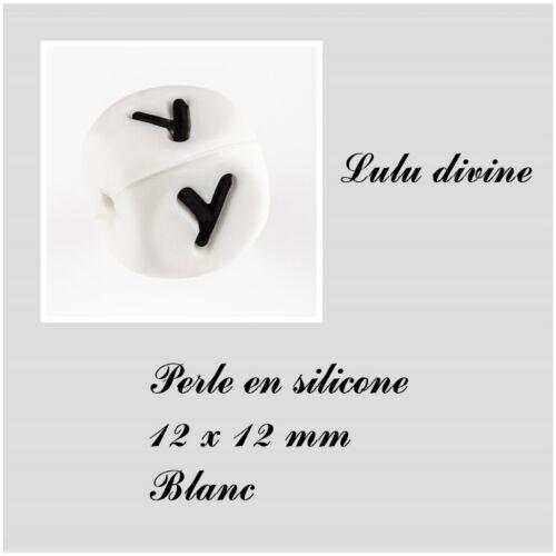 Perle en silicone alphabétique de 12 x 12 mm Blanc Lettre Y Lot de 10 perles
