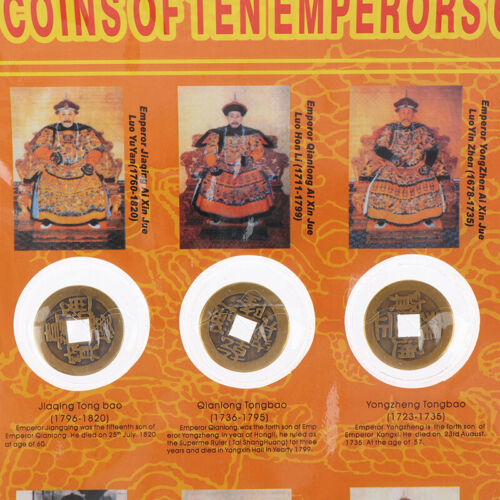 10Pcs Emperors Coins Chinese Copper Coin Old Dynasty Antique Curren X
