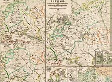 Alte Landkarte RUSSLAND im Mittelalter Русское царство Republik Nowgorod 1871