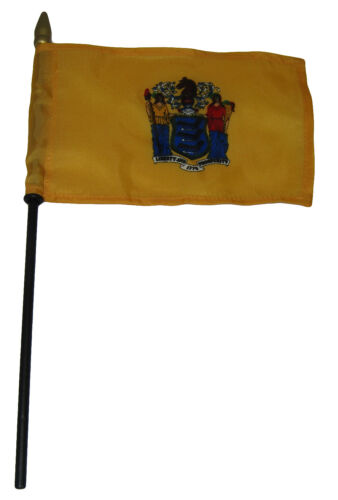 "State of New Jersey 4/""x6/"" Flag Desk Set Table Wooden Stick Staff"