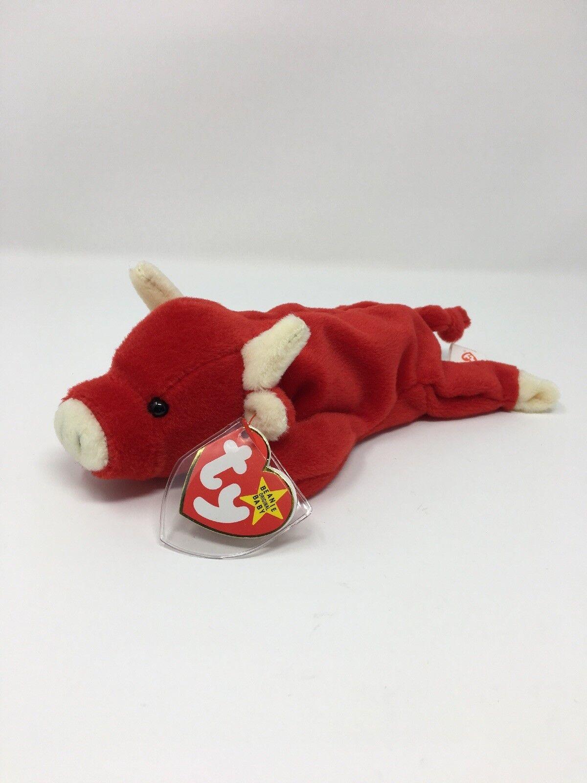 jahrgang 1995 äußerst selten snort ty beanie baby rot bull mit tag - 4002