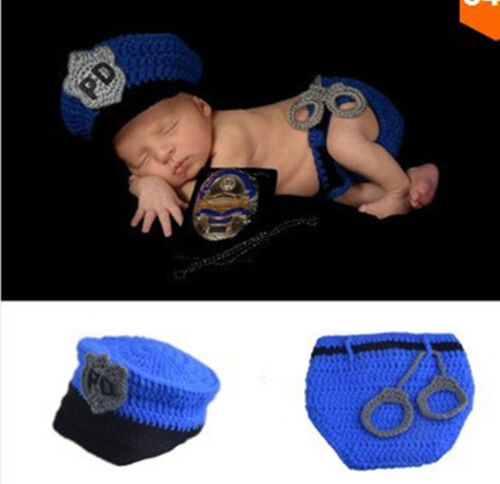 New baby boys police Newborn Knit Crochet Clothes hat/&pants Photo Prop outfit