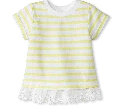 Genuine Kids by OSHKOSH Girls/' Striped Eyelet Trim Tee Lime Size 12M 4T