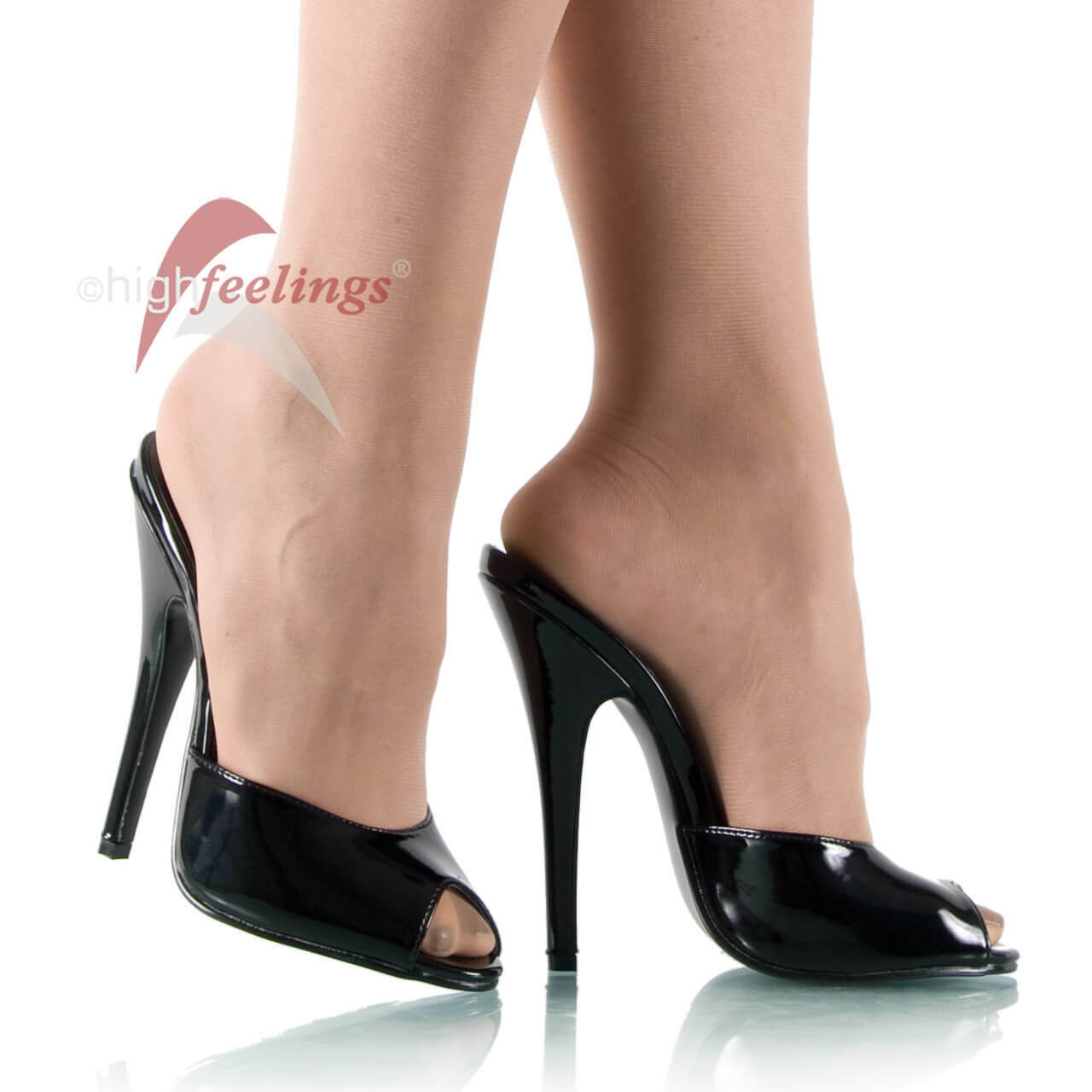 Sexy Pantoletten High Heels DOM101/B Lack Schwarz 13 - 15 cm Absatz Gr. 36 - 47