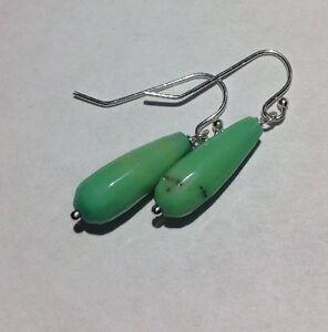 Sterling-Silver-Green-Chrysoprase-Faceted-Teardrop-Dangle-Fish-Hook-Earrings