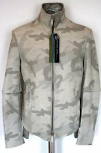 Armani pelle grigia 1200 di Rrp £ Eu48 agnello Camouflage Emporio Giacca Cappotto in Hdxtpfq