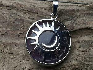 Edelsteinanhaenger-Amethyst-rund-Silber-27-mm-Kette-Schmuck-Sonne-Mond-Sterne