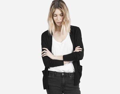 Everlane Size L Large Black Cardigan Merino 100 Wool Luxe Ebay