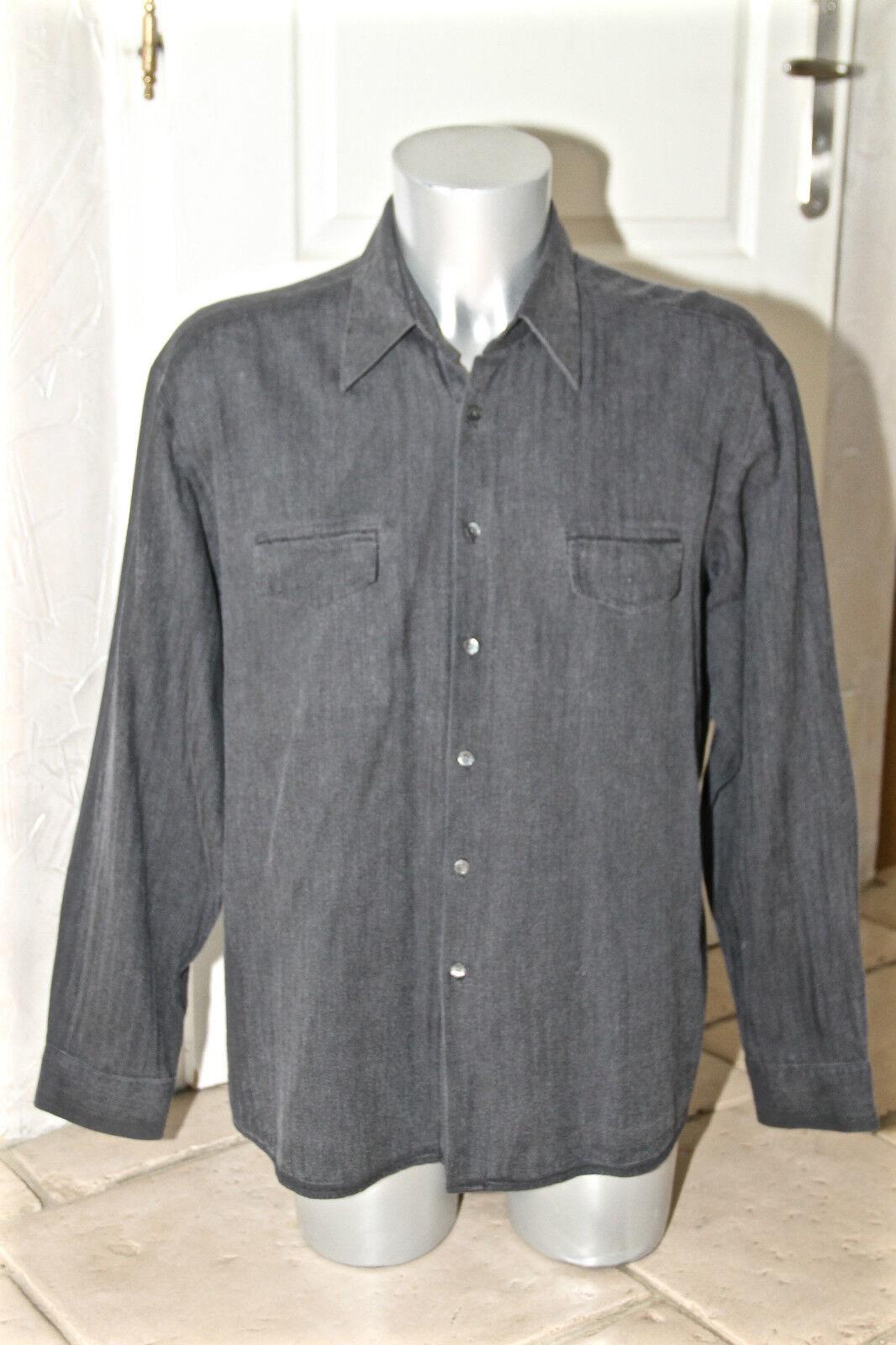 Carino camicia grigio cotone uomo HUGO BOSS nero label taglia XXL