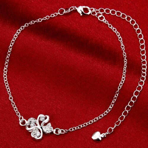 Free Shipping 925Sterling Silver Zircon Women Foot Chain Anklet Option SPA010-4