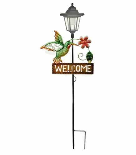 Humming Bird Welcome Sign Garden Solar Stake